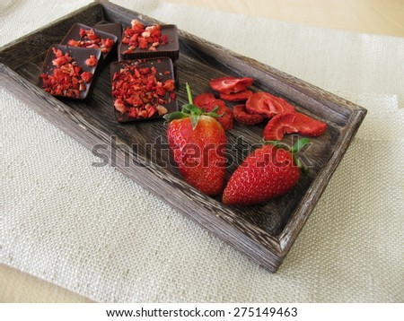 Strawberry chocolate and strawberries - stock photo