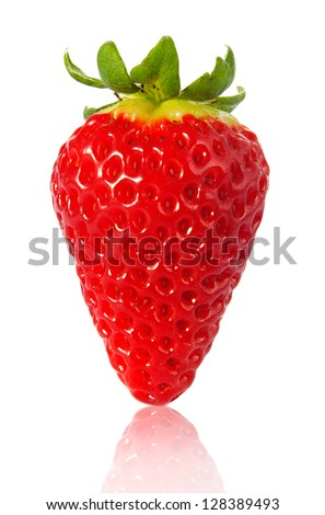strawberry closeup on white - stock photo