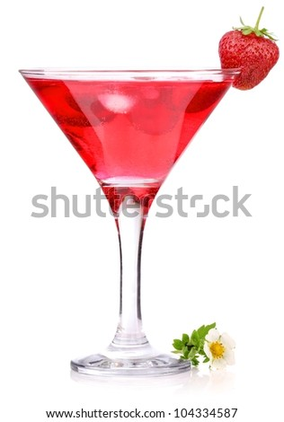 strawberry cocktail with berry in glass isolated on white background - stock photo