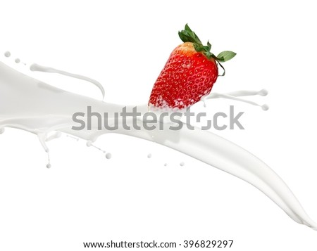 Strawberry cream splash - stock photo