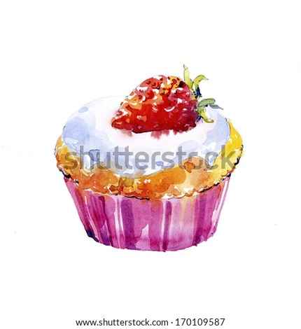 Strawberry cup cake illustration - stock photo