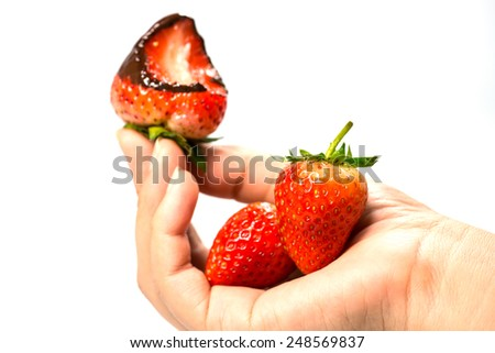 Strawberry dipped in chocolate - stock photo
