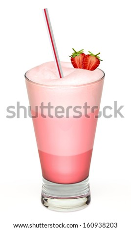 Strawberry frappuccino and cream on white background - stock photo