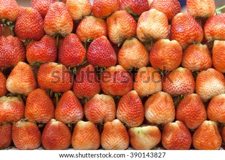 strawberry, fresh strawberry, Royal Queen Strawberry, vibrant stacked strawberry, tropical fruit, pattern, repeated, Chiang Mai, Thailand - stock photo