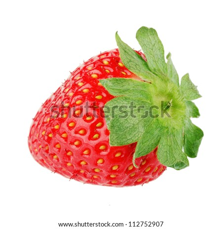 Strawberry fruit isolated on white background - stock photo