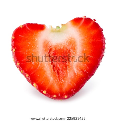 Strawberry. Half of berry like a heart isolated on white - stock photo