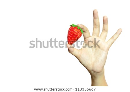 Strawberry hand. Organic food strawberry in the woman's hand isolated on white with clipping path - stock photo