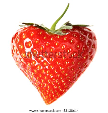 Strawberry-heart  isolated over a white background - stock photo