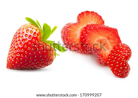 Strawberry heart shape berry isolated on white - stock photo