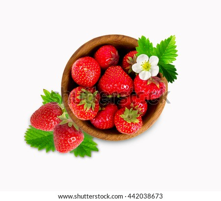 Strawberry in a wooden bow with with leaves. Top view. Ripe and tasty strawberry isolated on white background. - stock photo