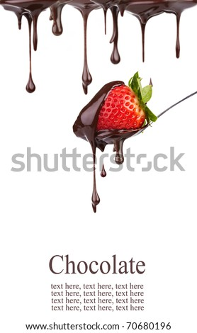 strawberry in chocolate - stock photo