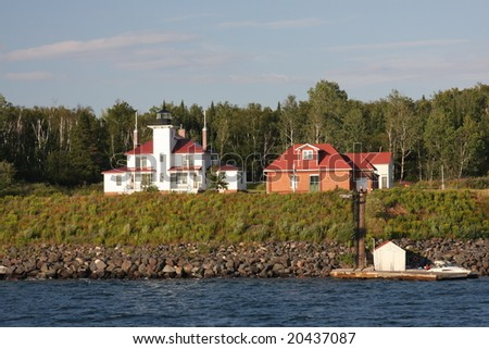 Strawberry Island Lighthouse in the Apostle Islands - stock photo