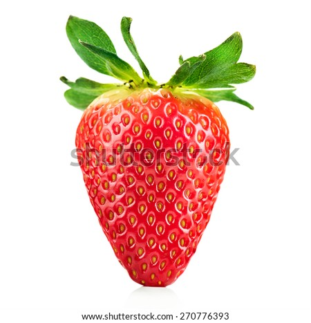 Strawberry isolated on a white background. Fresh ripe single strawbery on white  - stock photo