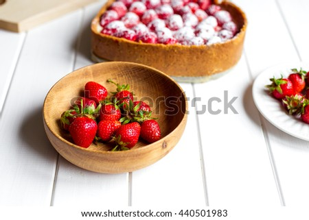 Strawberry isolated on white table - stock photo
