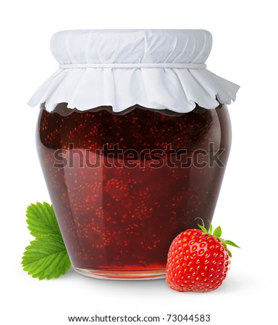 Strawberry jam in a glass jar isolated on white - stock photo