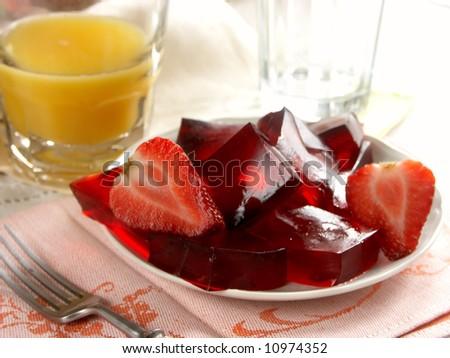 strawberry jelly with orange juice - stock photo