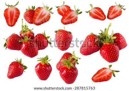 Strawberry kit on the white background set. Many different strawberry. Strawberry with sheet. Strawberry icon. Photo strawberry. Close up strawberry. Red strawberry half. Strawberry icons picture.  - stock photo