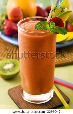 Strawberry mango smoothie - stock photo