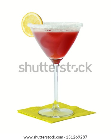 Strawberry Margarita Cocktail - Cocktail consisting of tequila mixed with orange liqueur and lime, served with salt on the glass rim. - stock photo