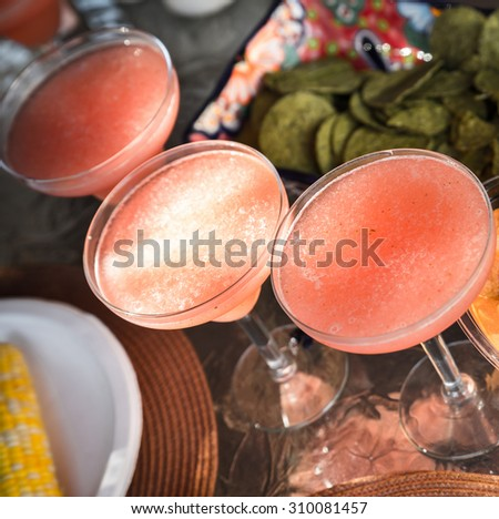 Strawberry margarita cocktails - stock photo