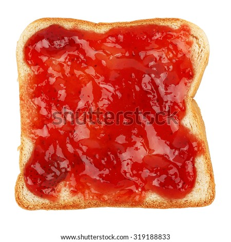 strawberry marmalade on bread slice isolated on white - stock photo