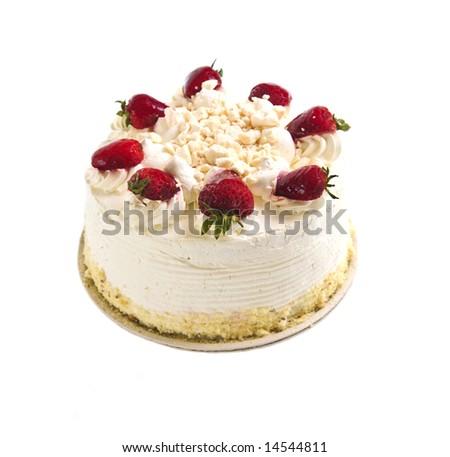Strawberry meringue cake isolated on white background - stock photo