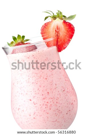 Strawberry milk cocktail. Closeup, isolated on white background - stock photo