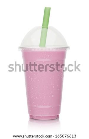 strawberry milkshake on a white background - stock photo