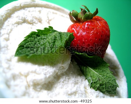 Strawberry, mint and vanilla ice cream. - stock photo