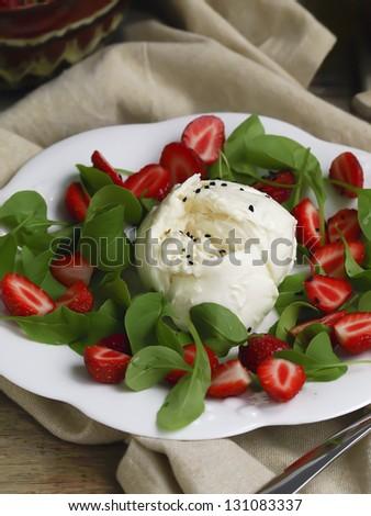 Strawberry , Mozzarella And Arugula Salad. Shallow DOF. - stock photo