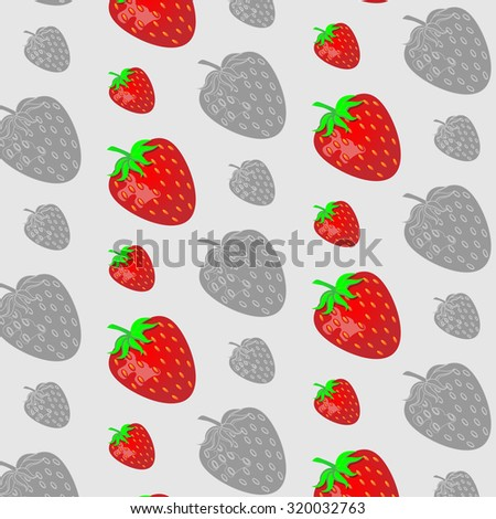 Strawberry pattern. Background, juicy and fresh, vector organic dessert, natural illustration ripe healthy - stock photo