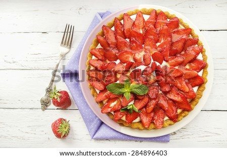 Strawberry pie - stock photo