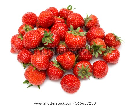 strawberry pile isolated on white background - stock photo