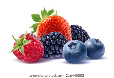 Strawberry, raspberry, blueberry and blackberry isolated on white background as package design element - stock photo