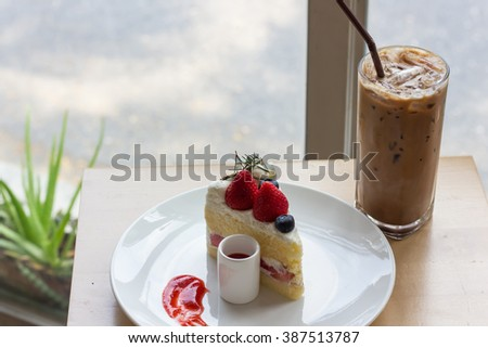 strawberry shortcake , select focus of strawberry , soft focus - stock photo
