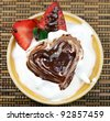 Strawberry Shortcake with Whipped Cream and chocolate - stock photo