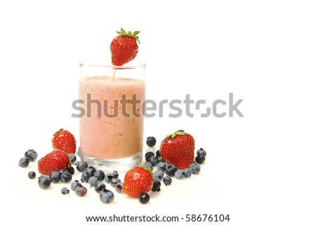 strawberry smoothie and fresh fruits isolated on a white background - stock photo