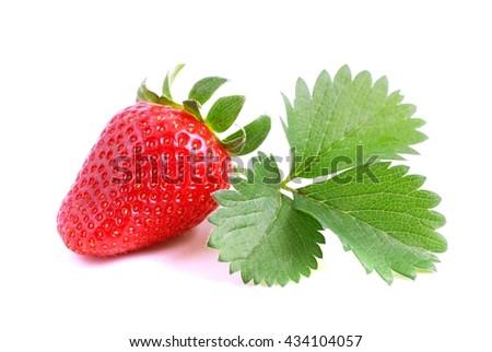 Strawberry. Strawberry on white background. Red strawberry. strawberry, Fresh strawberry and leaf. Strawberries isolated on white. Red strawberries, with leaves isolated on white. Healthy strawberries - stock photo