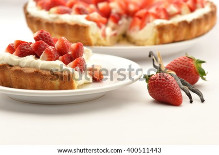 Strawberry tart with mascarpone cream and vanilla - stock photo