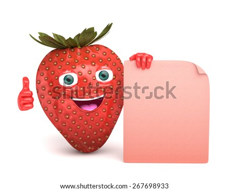 strawberry with a sign - stock photo
