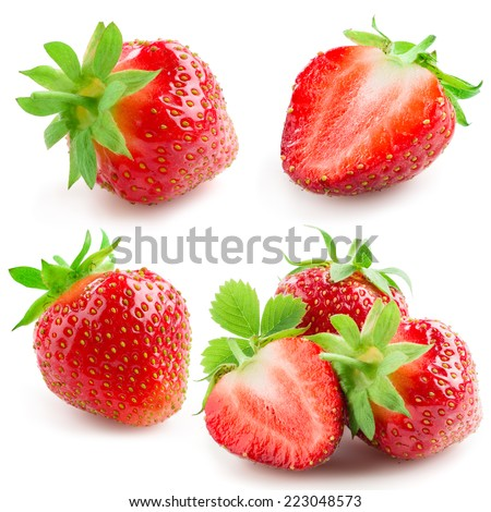 Strawberry with leaves isolated on a white background. Collection - stock photo