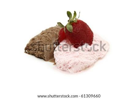 strawberry with strawberry and chocolate ice cream - stock photo