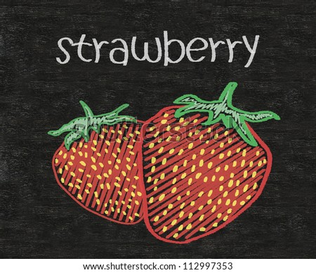 strawberry written on blackboard background high resolution - stock photo