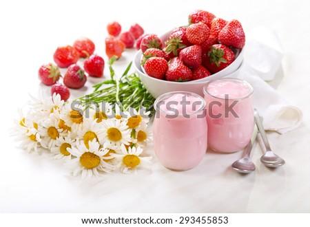 strawberry yogurt with fresh fruits - stock photo