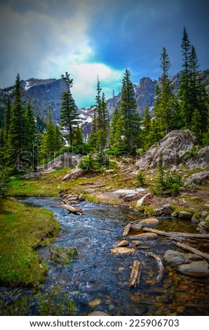 Stream in Rocky mountains national park - stock photo