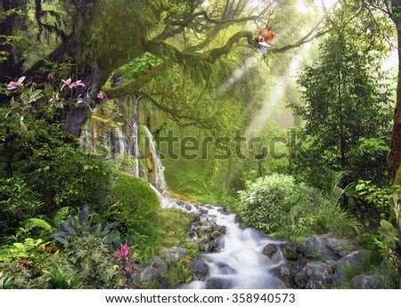 Stream in the jungle - stock photo