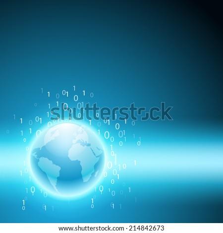 Stream of binary code to the globe. - stock photo