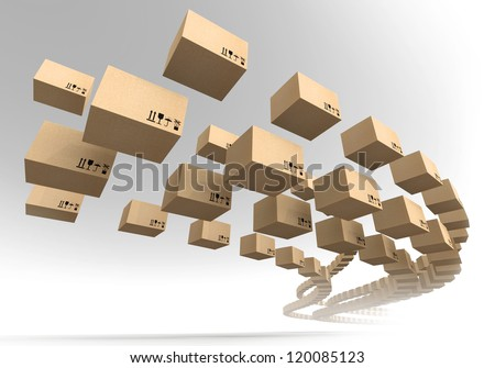 Stream of flying cardboard boxes. Fast accuracy delivery metaphor - stock photo