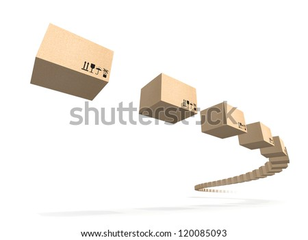 Stream of flying cardboard boxes isolated on white. Fast accuracy delivery metaphor - stock photo