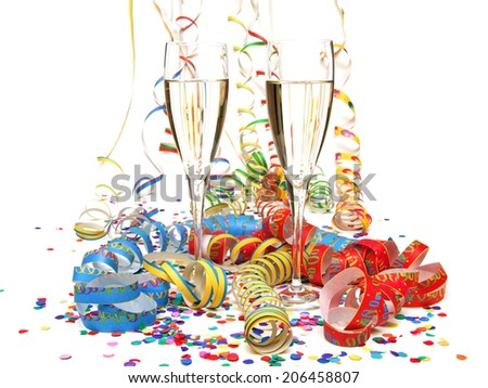 streamer confetti champagne - stock photo